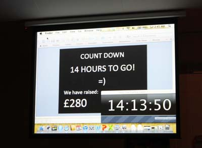 The screen displays the countdown timer and the amount raised so far