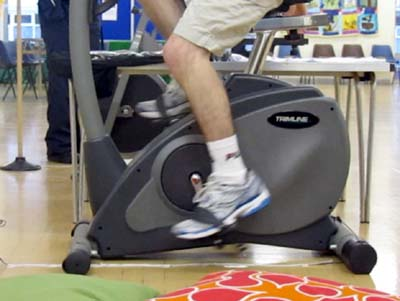 Two exercise bikes were kept going for 24 hours