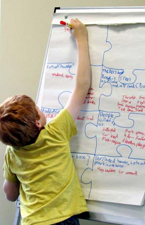 A boy writes down ideas on a whiteboard
