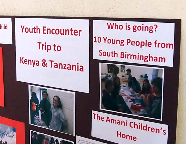 A display board giving details of the trip